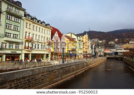 CARLSBAD, CZECHIA - NOVEMBER 23:  View of Carlsbad on November 23, 2011 in Carlsbad, Czechia. Town is famous for its hot springs (13 main springs, any smaller springs, and warm-water River) - stock photo