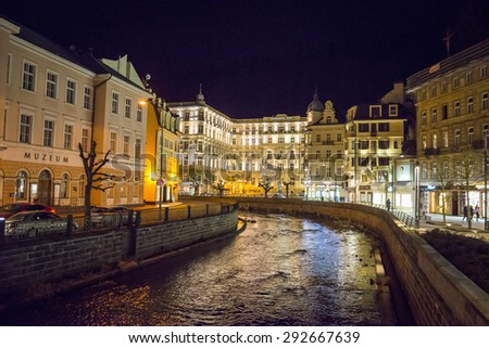 """CARLSBAD,  Grandhotel Pupp in night , Czech Republic.Films """"Last Holiday"""" and box-office hit """"Casino Royale"""", both of which used Grandhotel Pupp. 20.03.2015 - stock photo"""