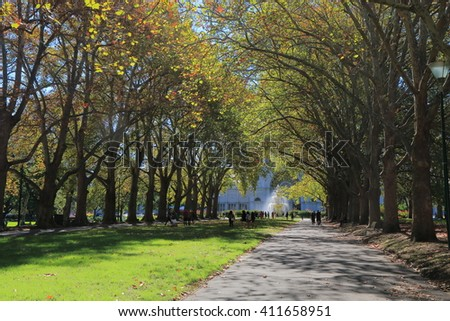 Carlton Gardens Autumn Melbourne Australia  - stock photo