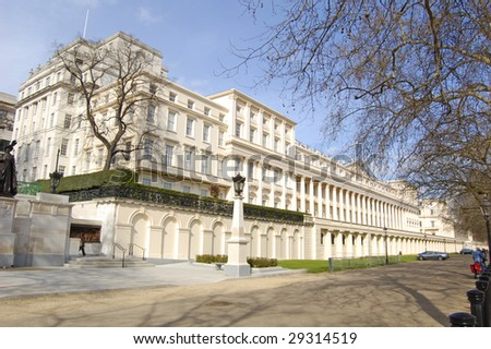 Carlton House terrace from The Mall in London, England - stock photo