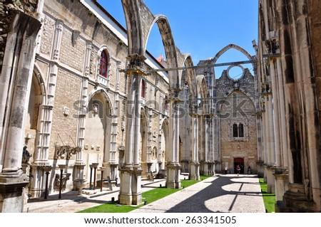 Carmo church in Lisbon, Portugal - stock photo