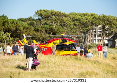 Carnac, France - August 10: View of a french rescue helicopter near Carnac, France on August 10, 2014.