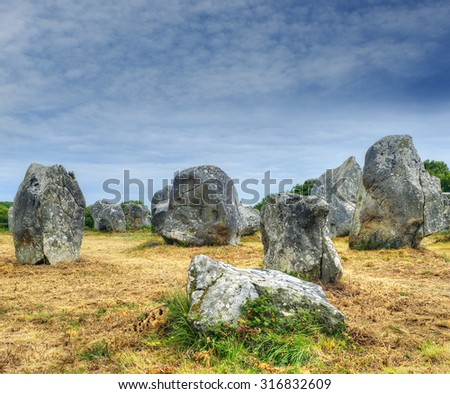 Carnac Stones, Menhirs alignment Kermario, Brittany, France
