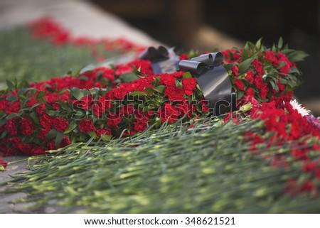 Carnation flowers symbol of mourning.   - stock photo