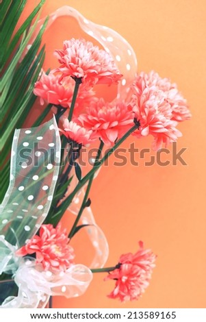 Carnation in retro style, filtered - stock photo