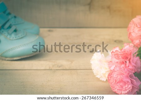 carnation on wooden floor with old shoe,abstract background to first step concept, and Thank you mother day.vintage color photo. - stock photo