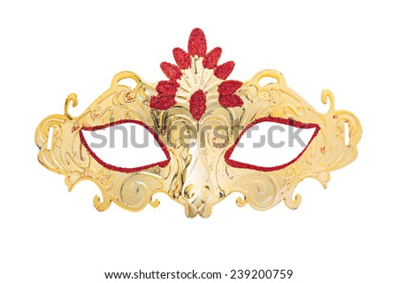 carnaval golden mask isolated on white background - stock photo