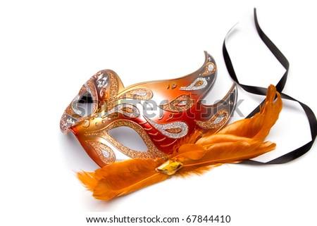 carnaval red venetian mask - stock photo
