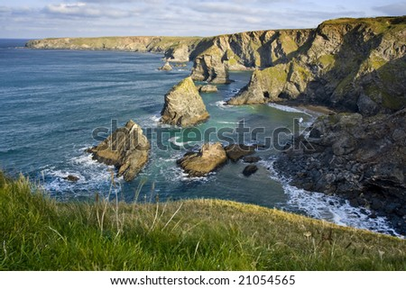 Carnewas & Bedruthan Steps, Cornwall, England - stock photo