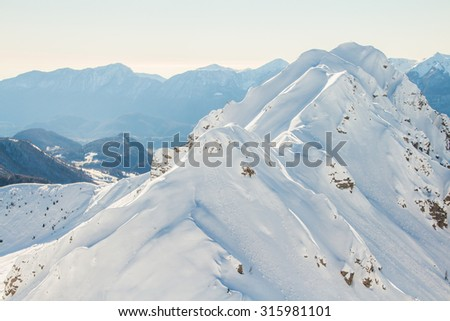 CARNIC ALPS, FRIULI-VENEZIA GIULIA, ITALIA: View of the snow mountains from Zoncolan - stock photo