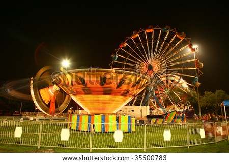 Carnival at Night With Motion Blur