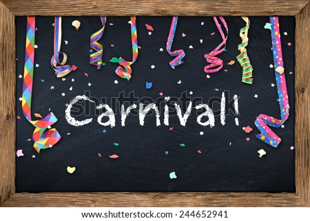 Carnival blackboard with streamers and confetti - stock photo