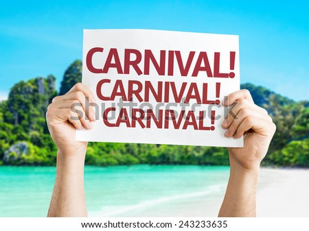 Carnival card with a beach on background - stock photo