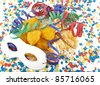 Carnival, celebration,party cake and mask - stock photo