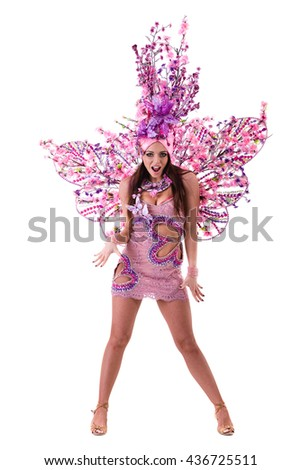 carnival dancer woman dancing against isolated white - stock photo