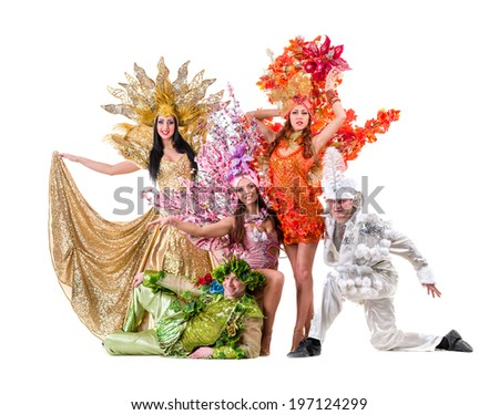 carnival dancers dancing against isolated white background - stock photo
