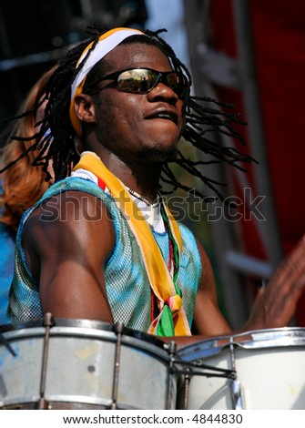 Carnival drummer - action shot - stock photo
