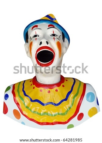 Carnival Feed the Clown Figure isolated with clipping path - stock photo