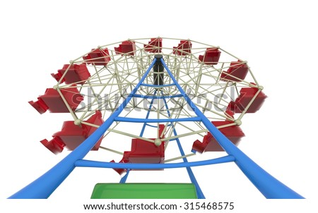carnival ferris wheel  and circus toy 3d illustration