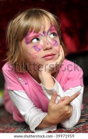 Carnival girl portrait - stock photo