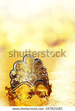 Carnival gold venetian mask - stock photo