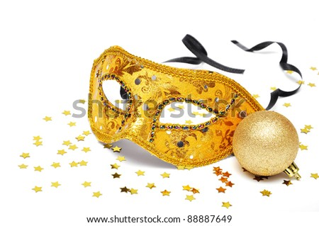 carnival golden mask with confetti on white background - stock photo
