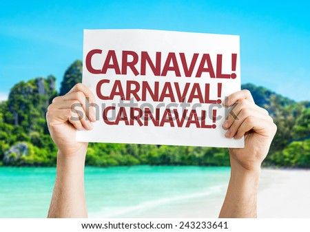 Carnival (in Portuguese) card with a beach on background - stock photo