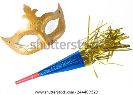 Carnival mask and blower in white background - stock photo