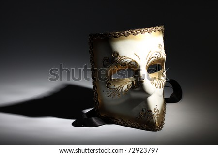 Carnival mask, close up, lighted by spot