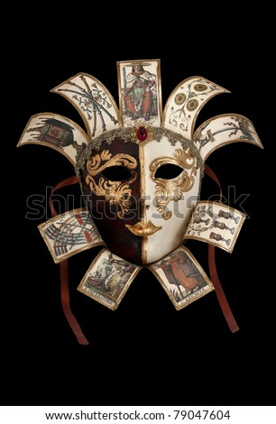 Carnival Mask from Venetian Carnival isolated on black - stock photo