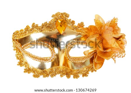 Carnival mask gold front view isolated on white background - stock photo