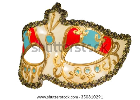 Carnival mask gold-painted curlicues decoration blue and red inserts half mask isolated white background side view