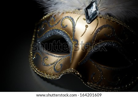 Carnival mask in spotlight on black background - stock photo