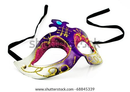 Carnival Mask isolated on white - stock photo