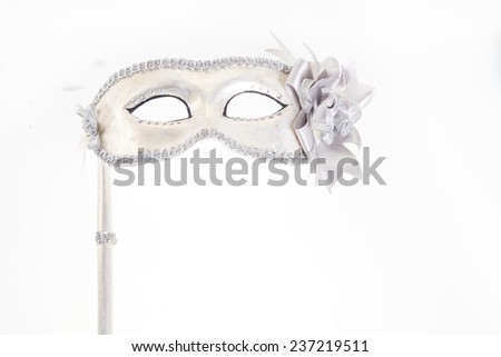 Carnival mask isolated on white with place for your copy text - stock photo