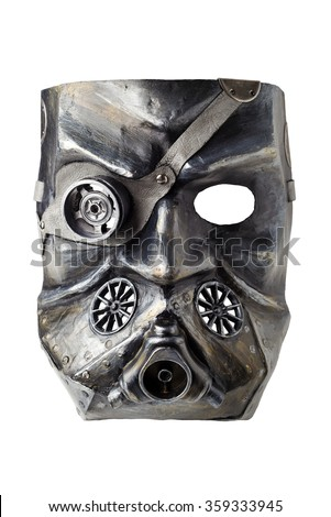 Carnival mask, isolated. Steampunk, Dieselpunk style. Papier-mache, plaster, lacquer,  with leather, acrylic paints and accessories.  - stock photo