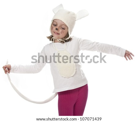 carnival mask -  little white mouse on white background