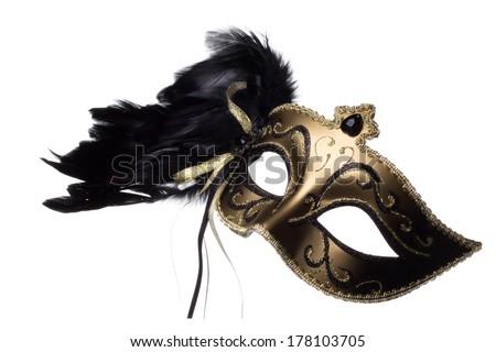 Carnival mask on white background - stock photo