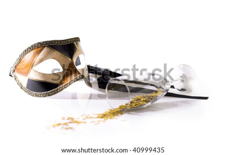 carnival mask on white with glass and confetties - stock photo