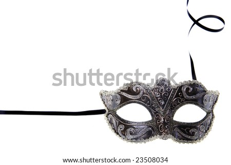 carnival mask over white background