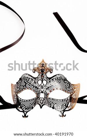 carnival mask over white background - stock photo