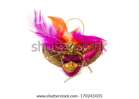 Carnival mask with feathers. Isolate on white. - stock photo