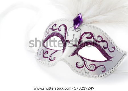 Carnival mask with feathers on white background - stock photo
