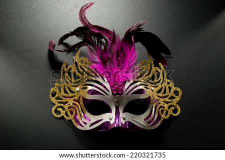 Carnival mask with pink feather on dark background - stock photo