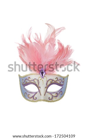 Carnival mask with pink feathers, isolated on white - stock photo