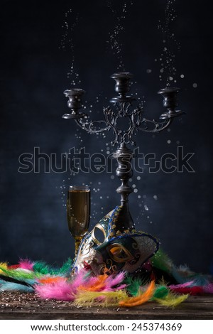 Carnival mask with vivid feather - stock photo