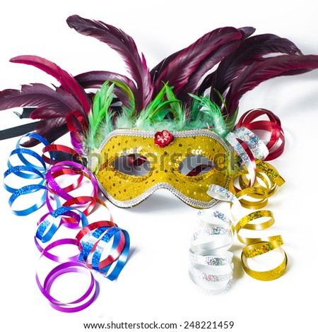Carnival Masks and serpentine in white background