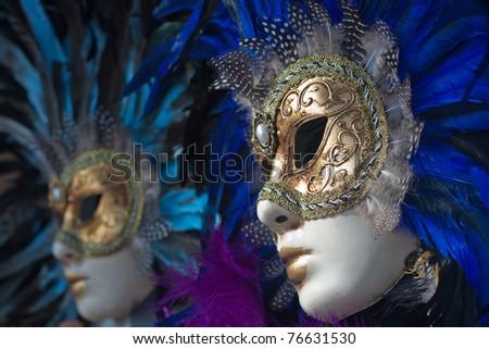 carnival masks in venice - stock photo