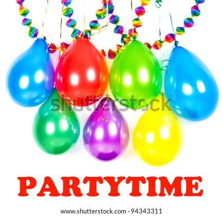 carnival or birthday party decoration. colorful balloons and garlands - stock photo