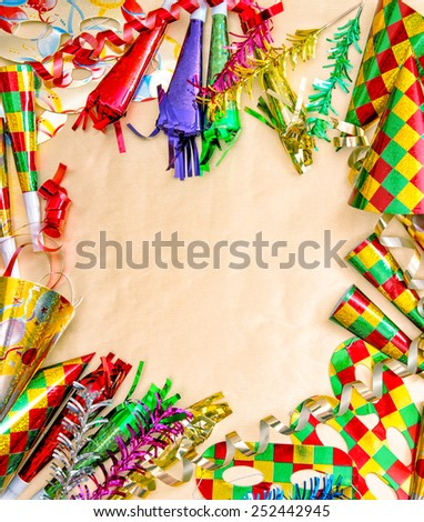 Carnival party decorations. Holidays background. Symbol of venetian mask festival - stock photo